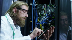 IT Engineer Working In A Data Center. Slow Motion . Stock Footage