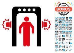 Passenger Screening Icon with 2017 Year Bonus Symbols Stock Illustration