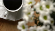 Breakfast with coffee, brie cheese and a bouquet of flowers. Top view. Dollyshot Stock Footage