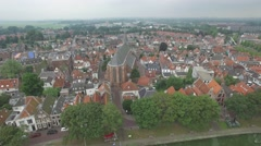 Aerial circling historical city with church,Weesp,Netherlands Stock Footage