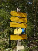 Bavaria Berchtesgaden National Park Ramsau Nature learning trail signs Europe Stock Photos