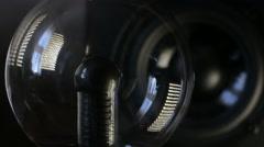 Plasma globe reacting on speaker playing Stock Footage