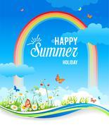 Positive summer background with rainbow Stock Illustration