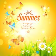 Positive summer background with sunshine Stock Illustration
