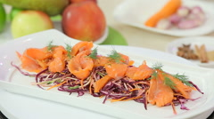 Red cabbage salad with smoked salmon Stock Footage