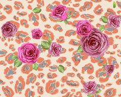 Rose and leopard pattern Stock Illustration