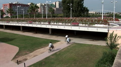 Zoom towards Calatrava bridge Valencia Stock Footage