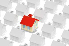 Funny unique house standing out from crowd of houses Stock Illustration