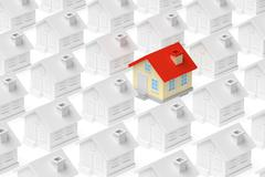 Funny unique house standing out from crowd of houses. Stock Illustration