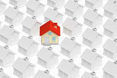 Funny unique house standing out from gray houses Stock Illustration