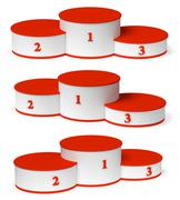 Round winners podium with empty red places set. Stock Illustration