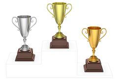 Golden, silver and bronze trophy cups on imaginary winners podium Stock Illustration