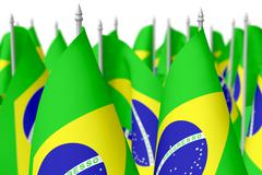 Many small brazilian flags, selective focus Stock Illustration