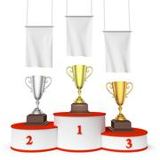 Round winners podium with trophy cups and blank white flags Stock Illustration