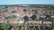 Aerial historical city on Ijselmeer lake,Hoorn,Netherlands Stock Footage