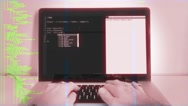 Haker Coding In Cyberspace, Hand Typing On Laptop Stock Footage