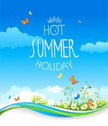 Summer card with blue sky and flowers Stock Illustration