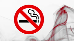 Sliding No smoking sign and curl of grey and red smoke on withe background Stock Footage