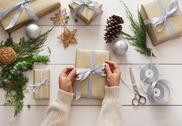 Creative hobby. Making modern handmade christmas present box Stock Photos