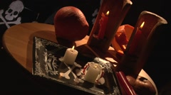 Halloween vampire dinner table with burning candles Stock Footage