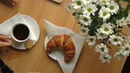 Breakfast with coffee, croissants and brie cheese. Top view. Dolly shot. Stock Footage
