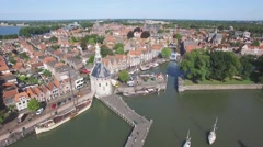 Aerial harbour and beautiful city at lake,Hoorn,Netherlands Stock Footage