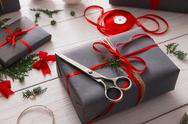 Creative hobby. Handmade tools for making christmas present in box Stock Photos