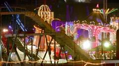 LOG FLUME RIDE CAROUSEL FUNFAIR HONG KONG CHINA Stock Footage