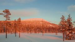 Evening in Lapland. Time Lapse UHD Stock Footage