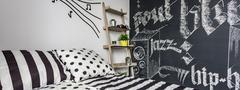 Blackboard music room for teen Stock Photos
