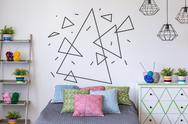 Triangles on the wall Stock Photos