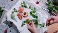 Making smartphone photo of fresh green decoration Stock Footage