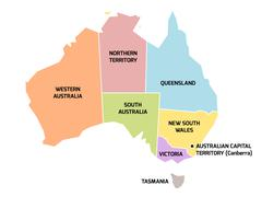 Australia map with states and territories Stock Illustration