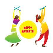 Happy navrati festival celebration greeting Stock Illustration