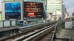 Bts Sky Train Transportation in Bangkok city Thailand Stock Footage