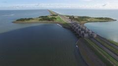 Aerial Afsluitdijk causeway,Den Oever,Netherlands Stock Footage