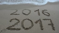 2016 and 2017 on sand, the beach. Stock Footage
