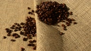 Coffee against a bag. Stock Footage