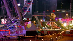 FERRIS WHEEL LOG FLUME CAROUSEL HONG KONG CHINA Stock Footage