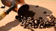Coffee grains on a board Stock Footage