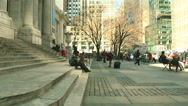 Unknown people before the central library of New York in Manhattan Stock Footage
