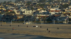 Volleyball courts stand empty on the beach in Hermosa Beach California. Stock Footage