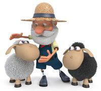 3D illustration the farmer with a lamb Stock Illustration