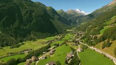 Alpine valley Heiligenblut, aerial footage Stock Footage