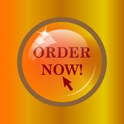 Order now icon. Internet button on colored background. . Stock Illustration