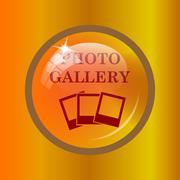 Photo gallery icon. Internet button on colored background. . Piirros