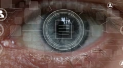 Business button file network security retina eye imprint Stock Footage