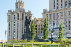 Moscow, Russia - May 14.2016. poet Taras Shevchenko monument before a hotel R Stock Photos