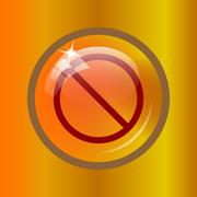Forbidden icon. Internet button on colored background. . Stock Illustration