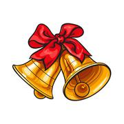 Golden Christmas bells with a red bow Piirros